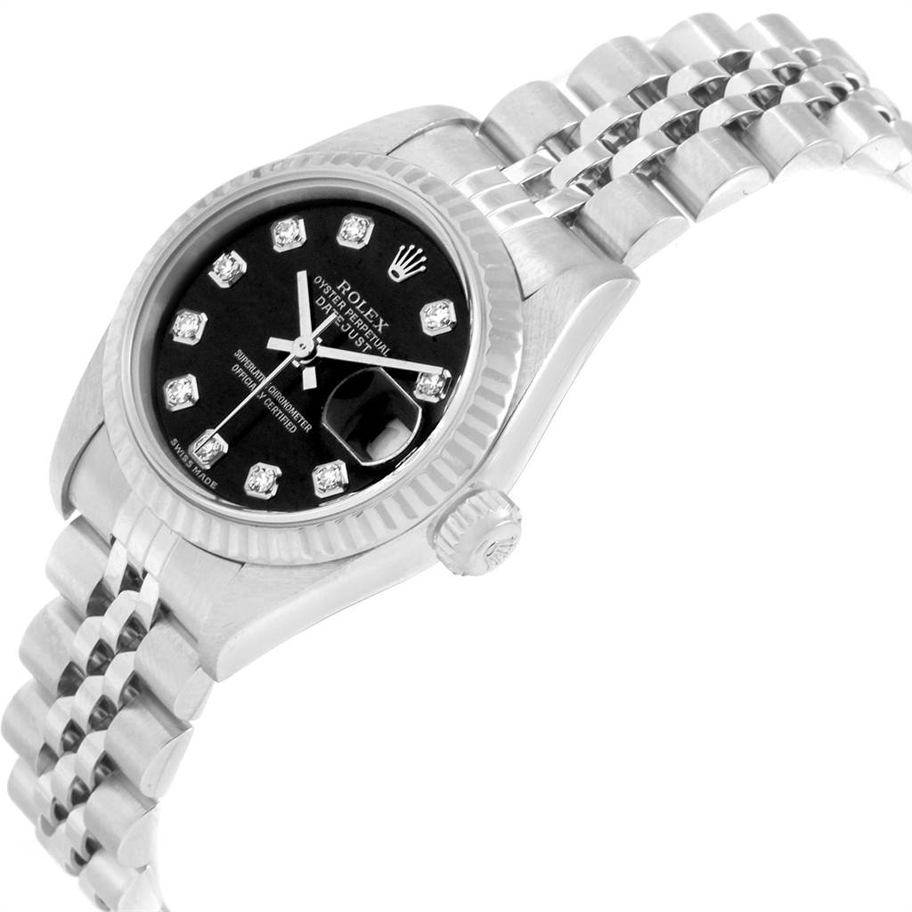 22994 Rolex Datejust Steel White Gold Black Diamond Dial Ladies Watch 79174 SwissWatchExpo