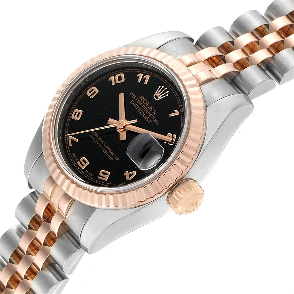 23175 Rolex Datejust Steel Everose Gold Black Dial Ladies Watch 179171 SwissWatchExpo