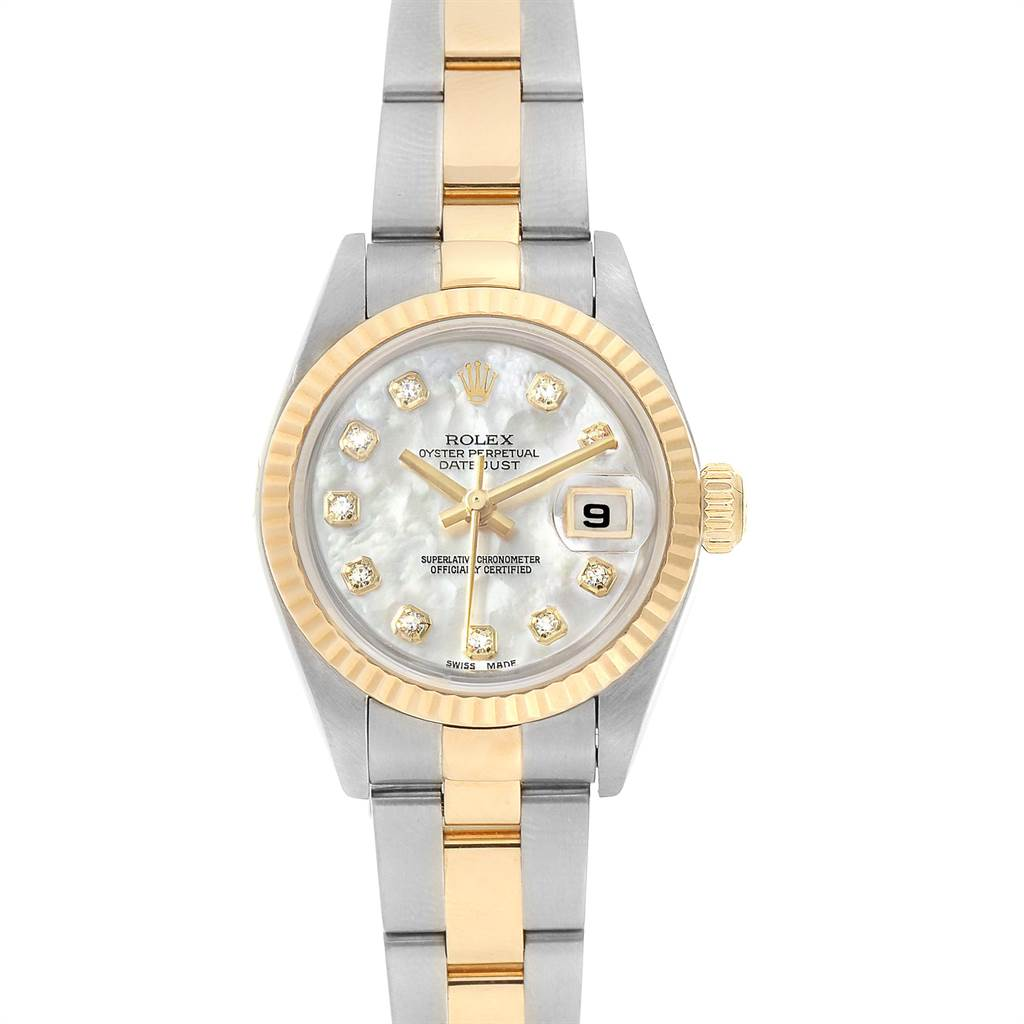 23177 Rolex Datejust Steel Yellow Gold Diamond Ladies Watch 79173 Box Papers SwissWatchExpo