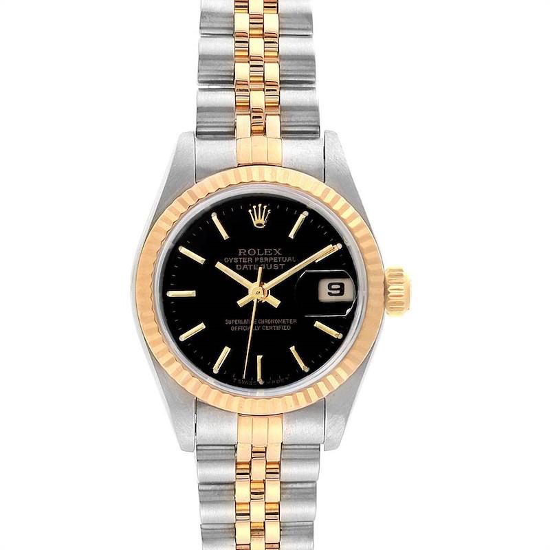 Rolex Datejust 26mm Steel Yellow Gold Black Dial Ladies Watch 69173 SwissWatchExpo