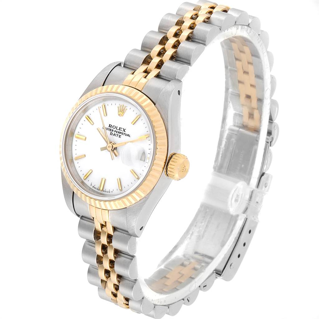 22799 Rolex Datejust 26mm Steel Yellow Gold White Dial Ladies Watch 69173 SwissWatchExpo