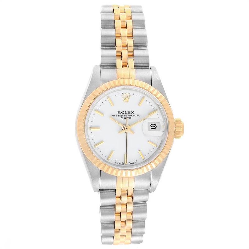 Rolex Datejust 26mm Steel Yellow Gold White Dial Ladies Watch 69173 SwissWatchExpo