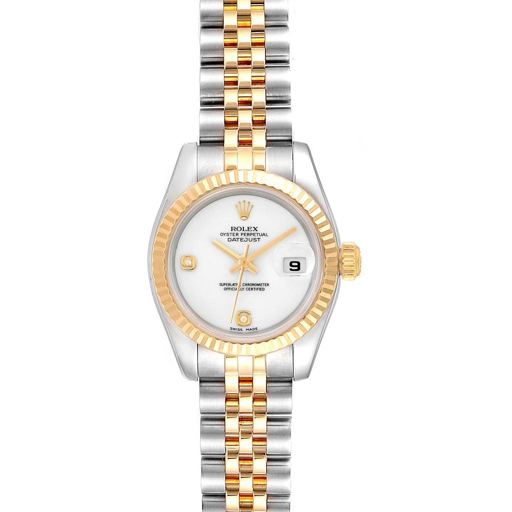 8720A Rolex Datejust Steel 18K Yellow Gold Onyx Diamond Dial Watch 179173 SwissWatchExpo
