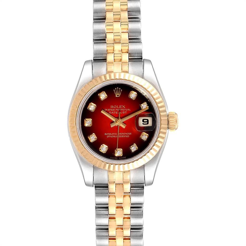 Rolex Datejust Steel Yellow Gold Red Vignette Diamond Ladies Watch 179173 SwissWatchExpo
