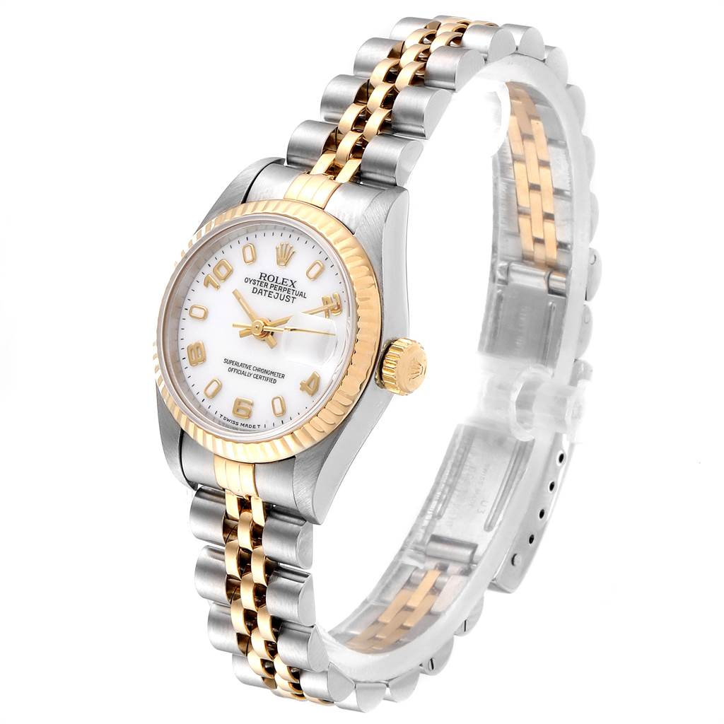 23736 Rolex Datejust Steel Yellow Gold White Dial Ladies Watch 69173 SwissWatchExpo