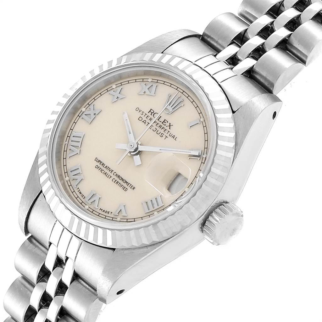 Rolex Datejust 26 Steel White Gold Ivory Roman Dial Ladies Watch 69174 SwissWatchExpo