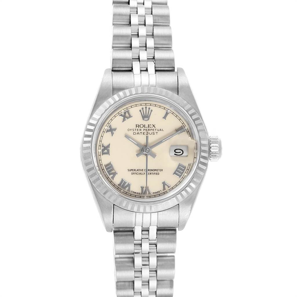 21518 Rolex Datejust 26 Steel White Gold Ivory Roman Dial Ladies Watch 69174 SwissWatchExpo
