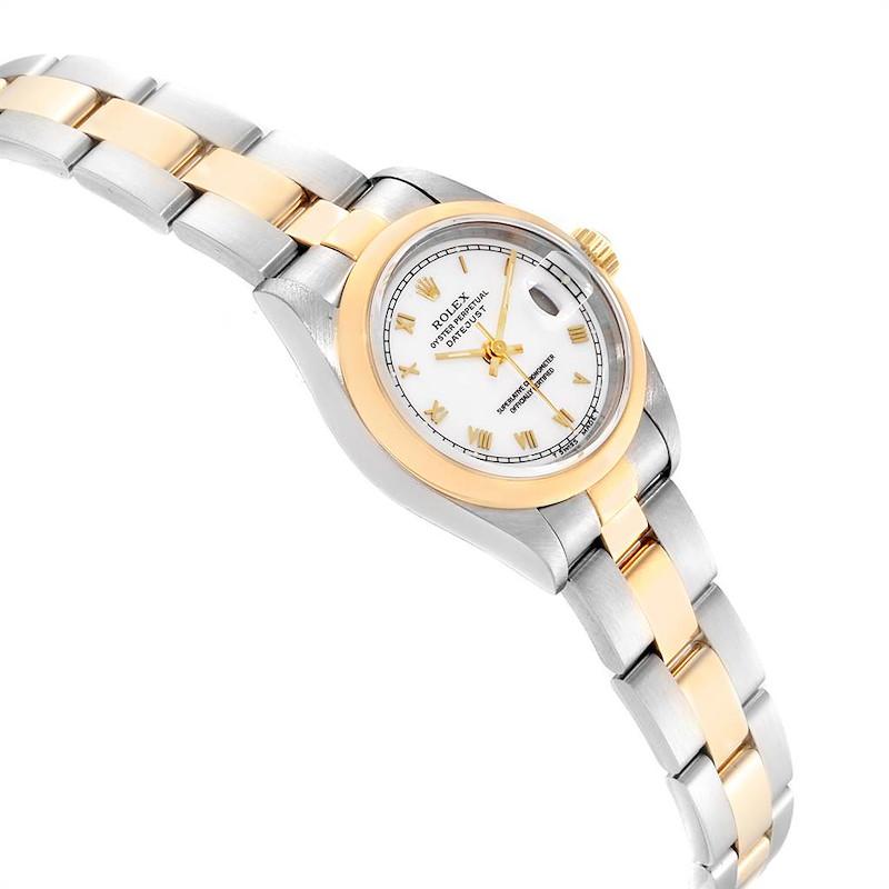 Rolex Datejust Steel Yellow Gold White Dial Domed Bezel Ladies Watch 69163 SwissWatchExpo