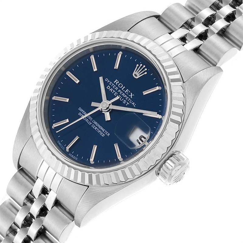 Rolex Datejust 26 Steel White Gold Blue Dial Ladies Watch 79174 SwissWatchExpo