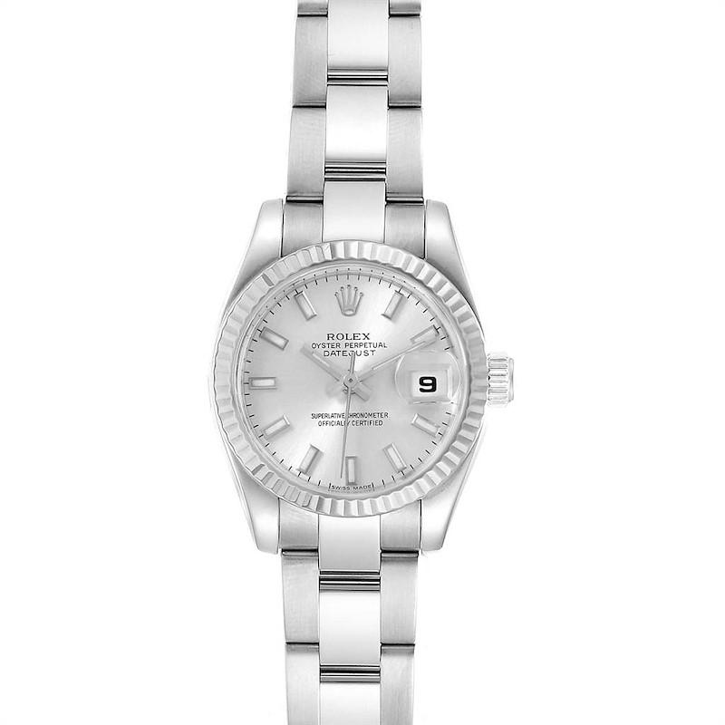 Rolex Datejust 26 Steel White Gold Silver Dial Ladies Watch 179174 SwissWatchExpo
