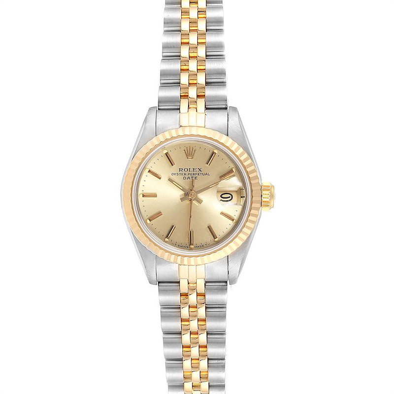 Rolex Datejust 26 Steel Yellow Gold Fluted Bezel Ladies Watch 69173 SwissWatchExpo