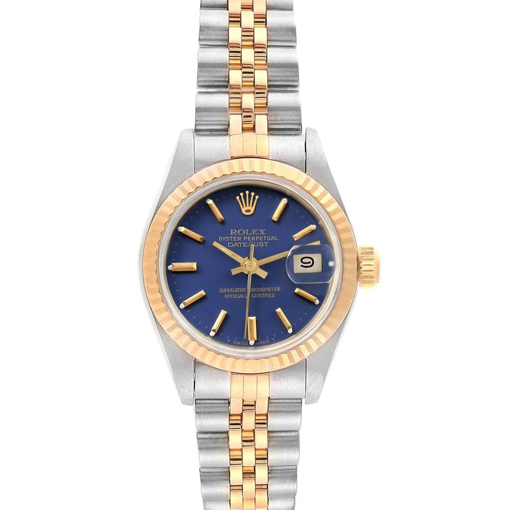 18639A Rolex Datejust 26 Steel Yellow Gold Blue Dial Ladies Watch 69173 SwissWatchExpo