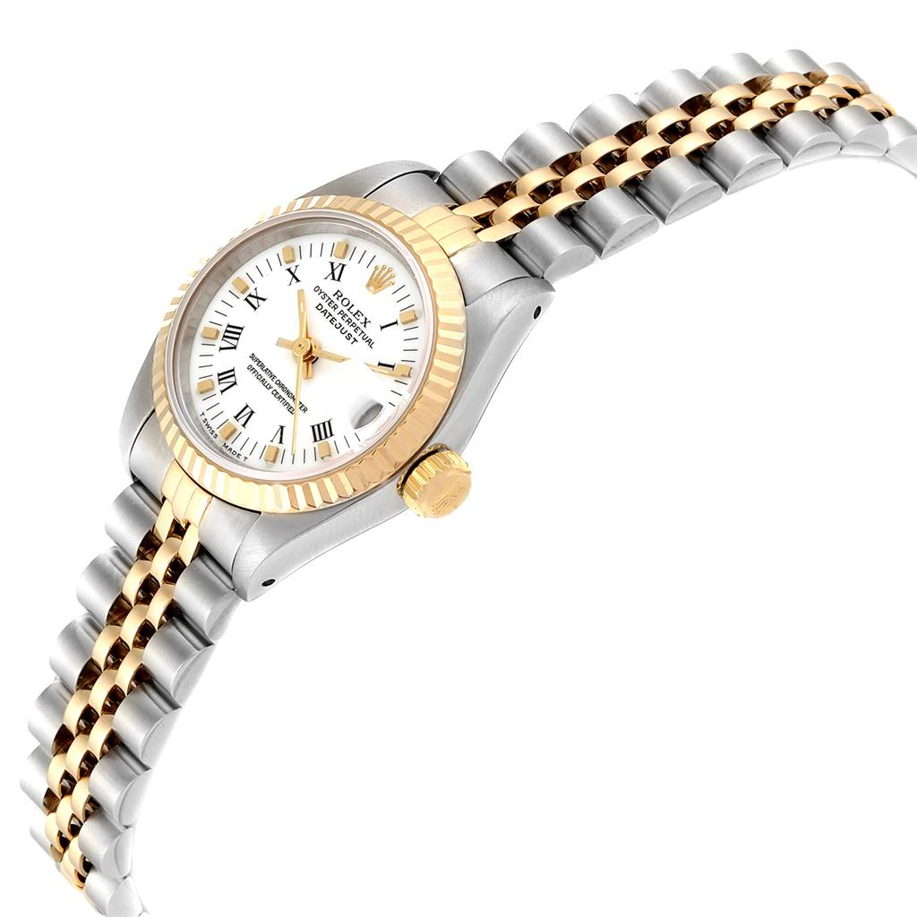 23036 Rolex Datejust Steel Yellow Gold White Dial Ladies Watch 69173 SwissWatchExpo