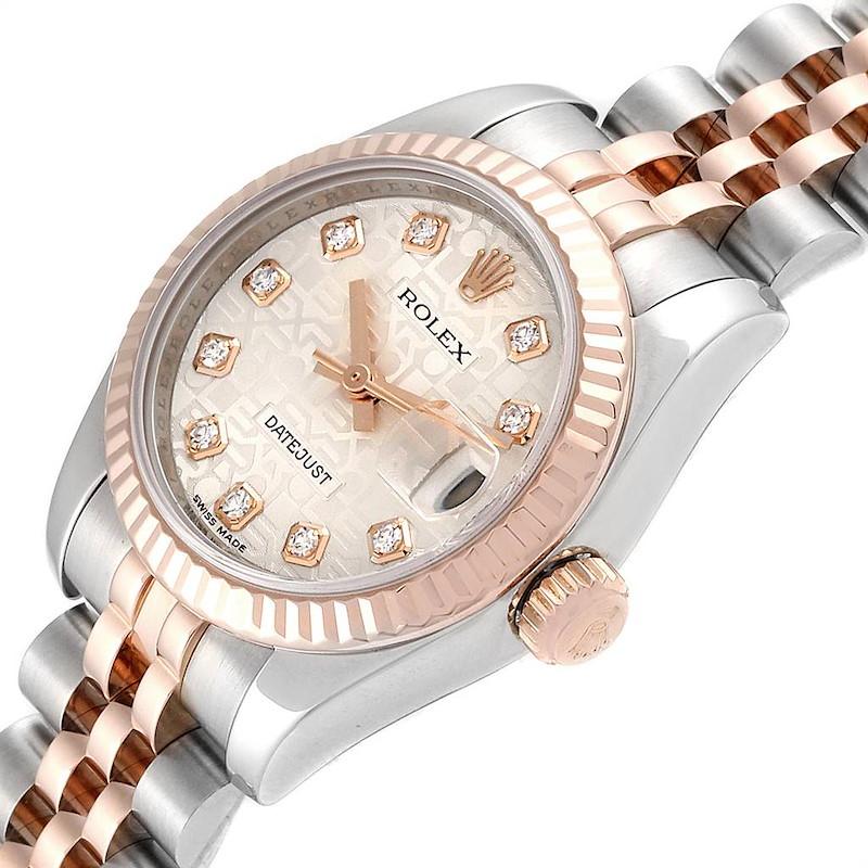 Rolex Datejust 26 Steel EveRose Gold Diamond Ladies Watch 179171 SwissWatchExpo