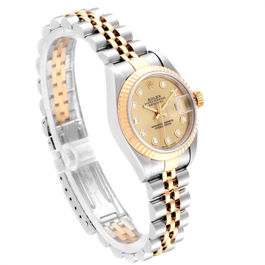 Rolex Datejust 26 Steel Yellow Gold Diamond Ladies Watch 69173 SwissWatchExpo