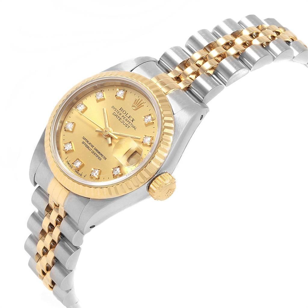 Rolex Datejust 26 Steel Yellow Gold Diamond Ladies Watch 69173 SwissWatchExpo