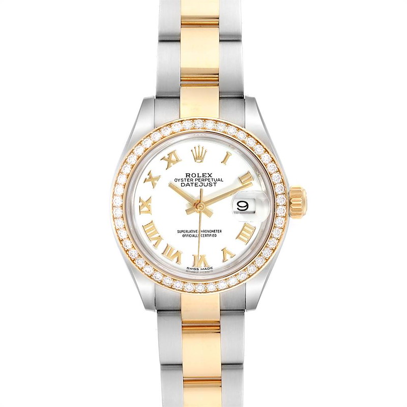 Rolex Datejust 28 Steel Rolesor Yellow Gold Diamond Ladies Watch 279383 SwissWatchExpo