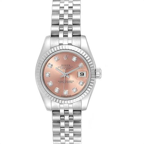 Photo of Rolex Datejust Steel White Gold Salmon Diamond Dial Ladies Watch 179174