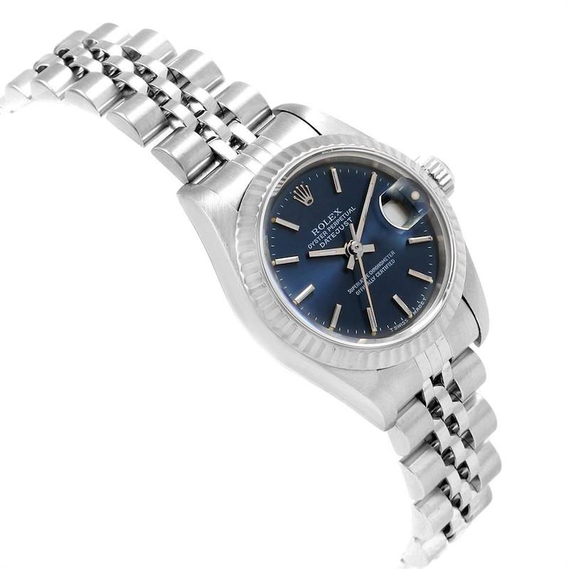 Rolex Datejust 26mm Steel White Gold Blue Dial Ladies Watch 69174 SwissWatchExpo