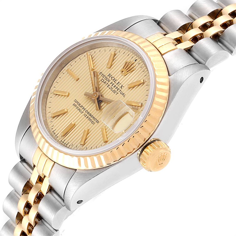 Rolex Datejust Steel Yellow Gold Tapestry Dial Ladies Watch 69173 Box Papers SwissWatchExpo