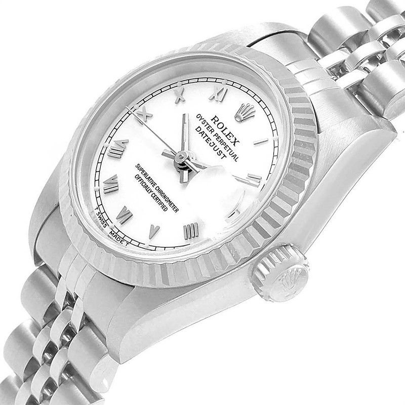 Rolex Datejust 26 Steel White Gold Roman Dial Ladies Watch 69174 SwissWatchExpo