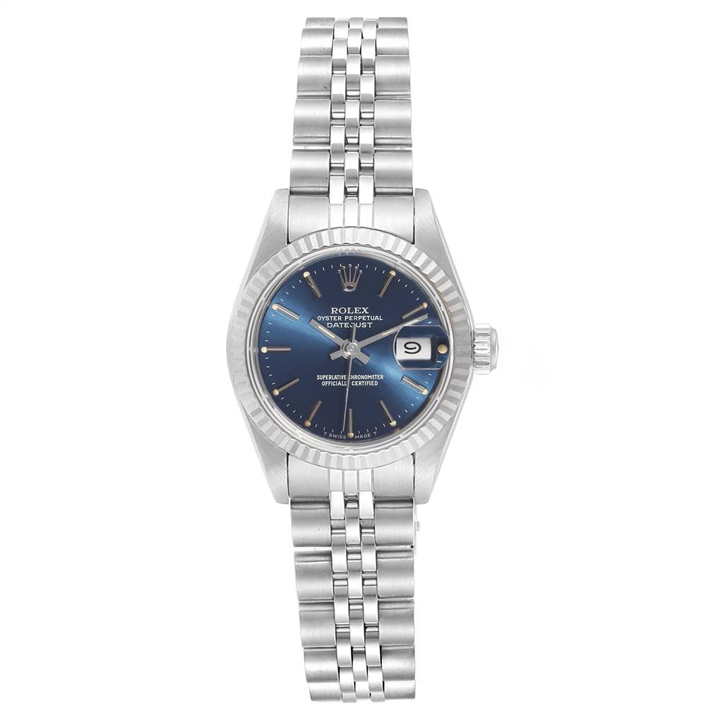 24741 Rolex Datejust Steel White Gold Blue Baton Dial Ladies Watch 69174  SwissWatchExpo