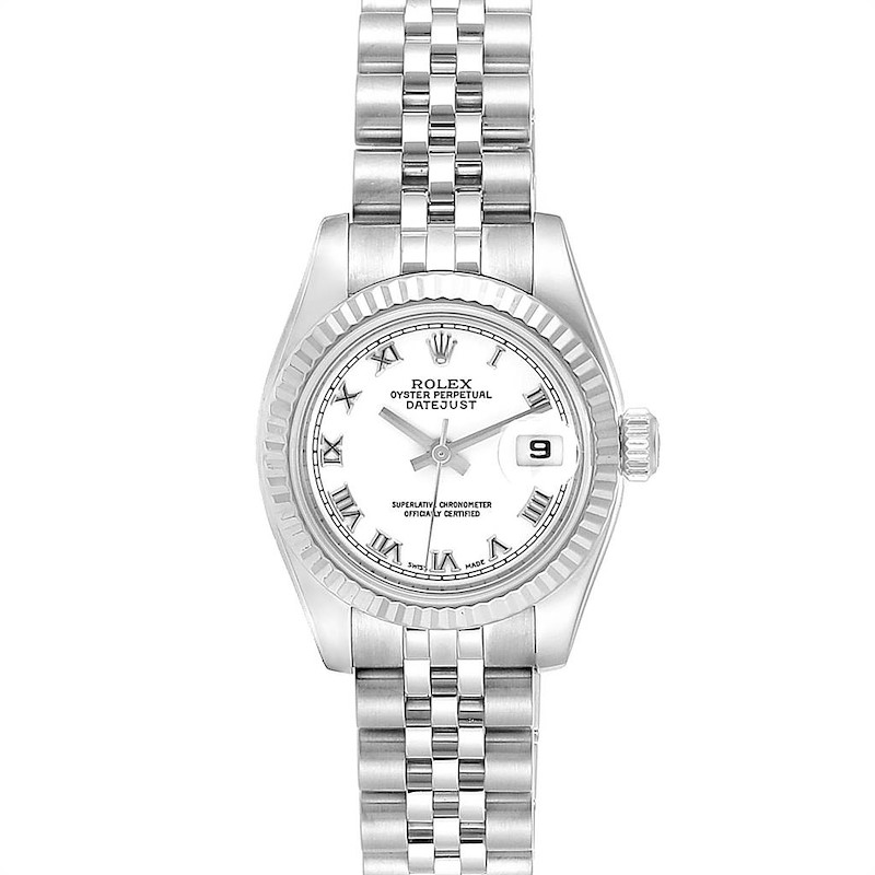 Rolex Datejust 26 Steel White Gold Ladies Watch 179174 Box Papers SwissWatchExpo