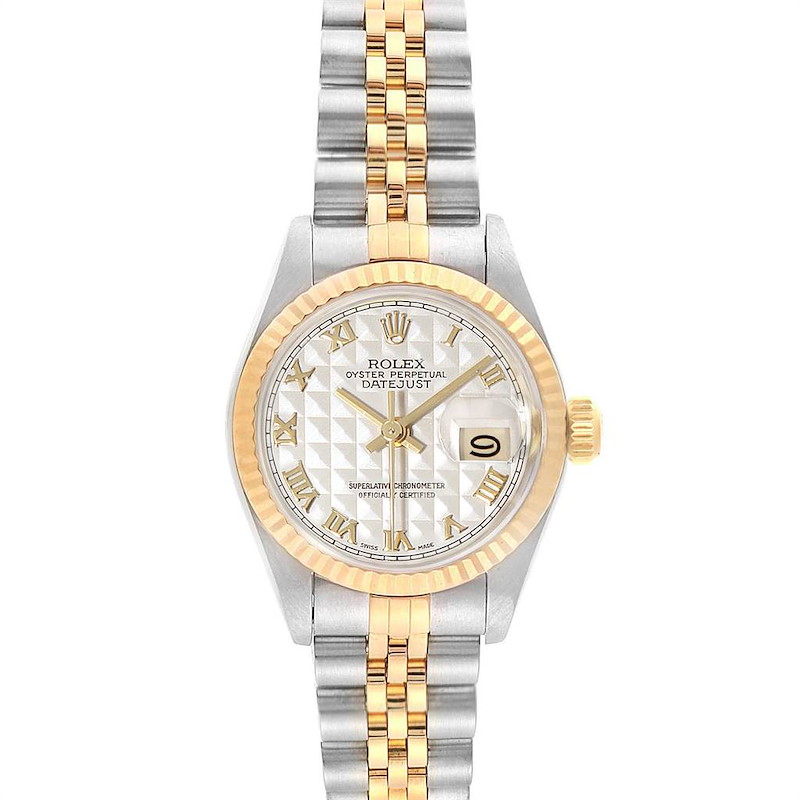 Rolex Datejust Steel Yellow Gold Pyramid Dial Ladies Watch 69173 SwissWatchExpo