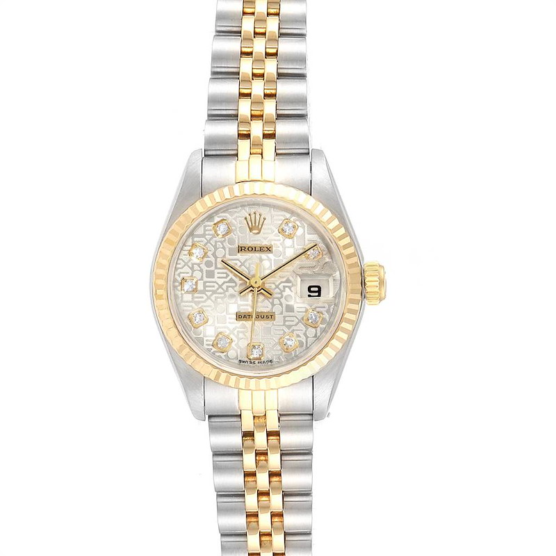 Rolex Datejust Steel Yellow Gold Silver Diamond Dial Ladies Watch 69173 SwissWatchExpo