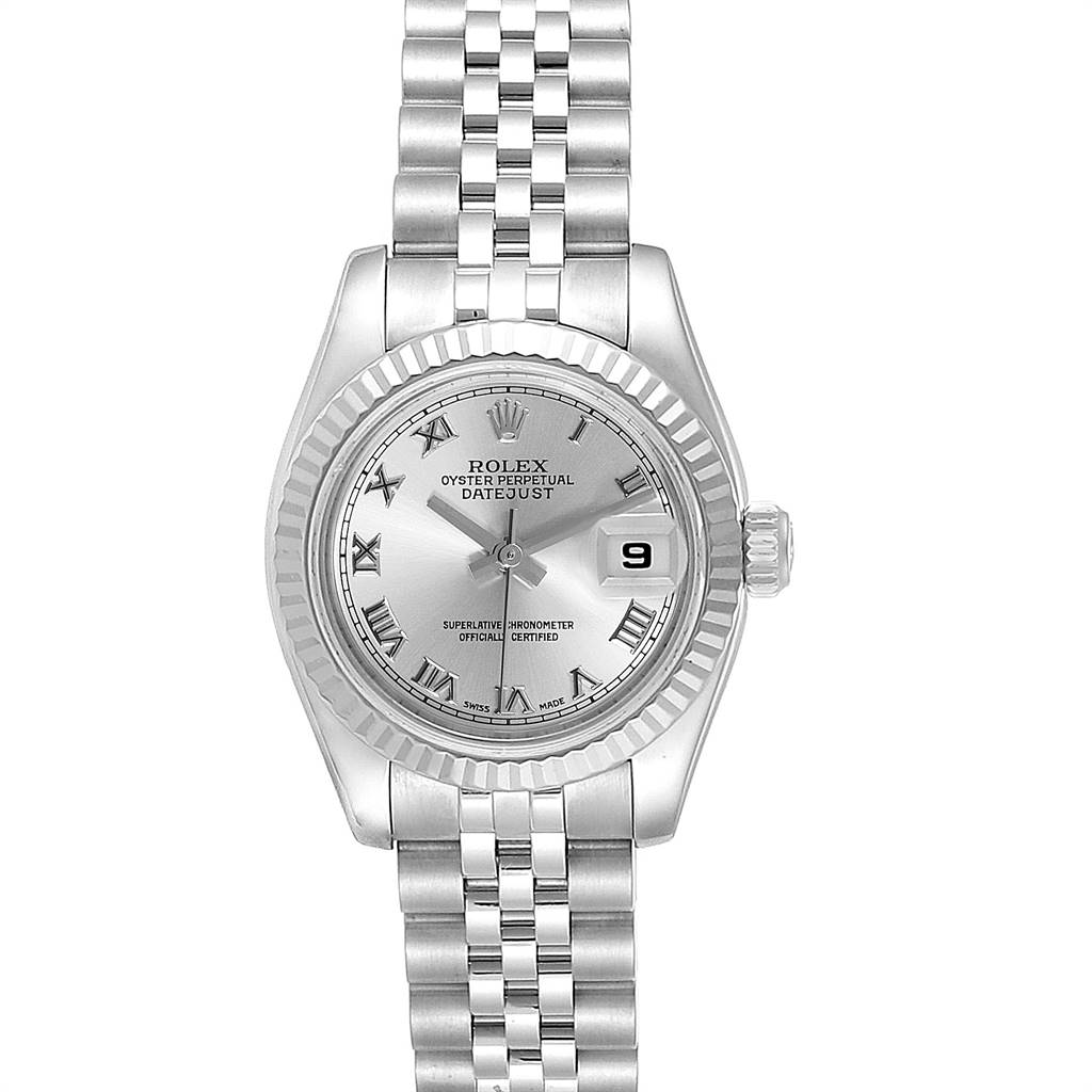 Rolex Datejust Steel White Gold Rhodium Roman Dial Ladies Watch 179174