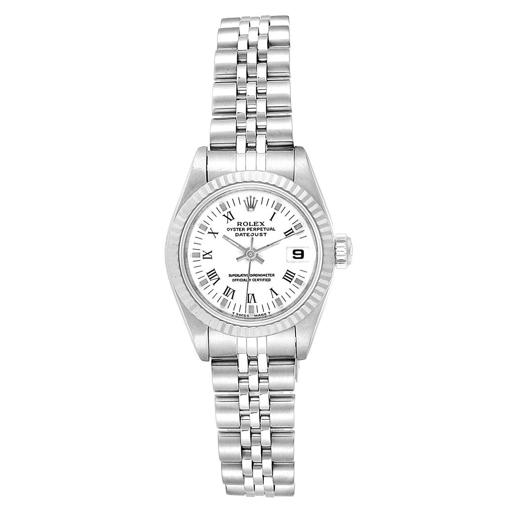 Rolex Datejust 26 Steel White Gold Roman Dial Ladies Watch 69174 Box Papers SwissWatchExpo