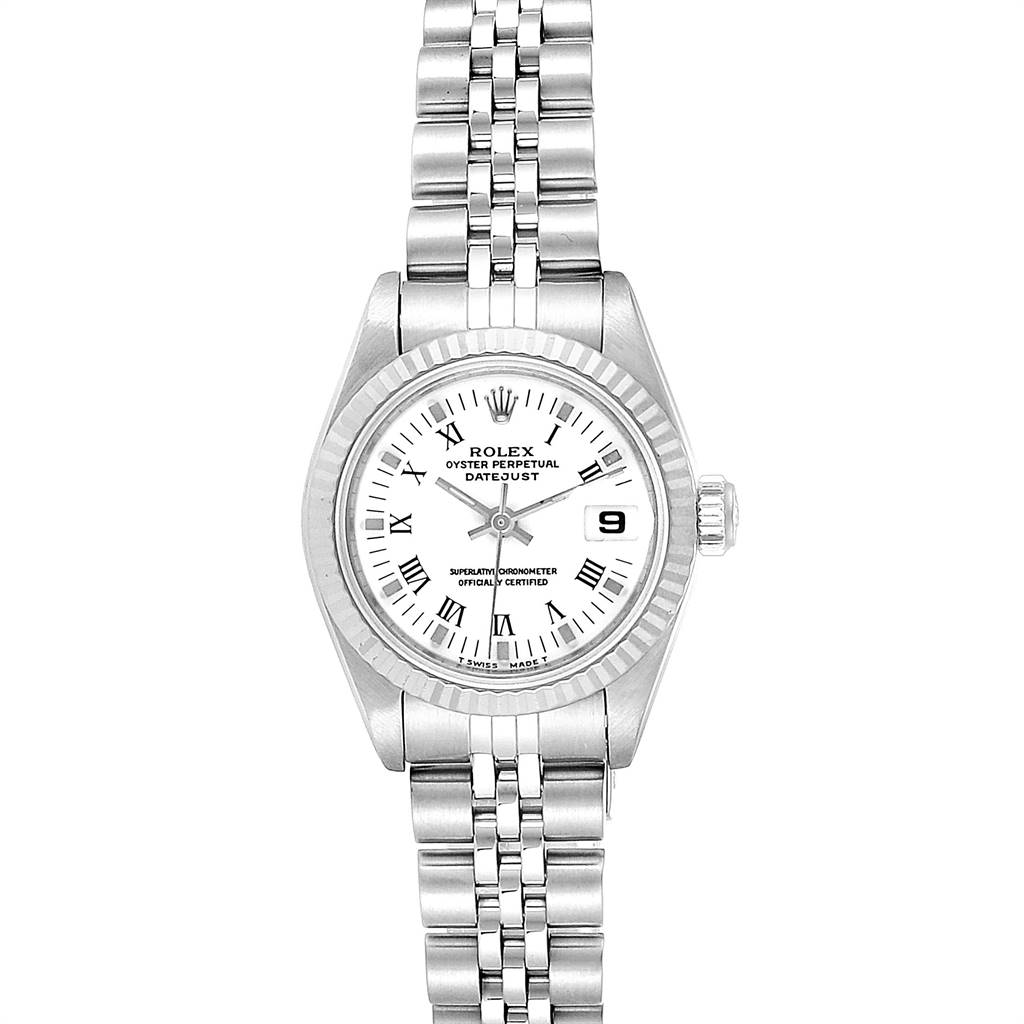 24794 Rolex Datejust 26 Steel White Gold Roman Dial Ladies Watch 69174 Box Papers SwissWatchExpo