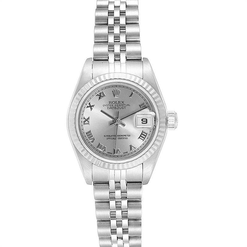 Rolex Datejust 26 Steel White Gold Rhodium Dial Ladies Watch 79174 SwissWatchExpo