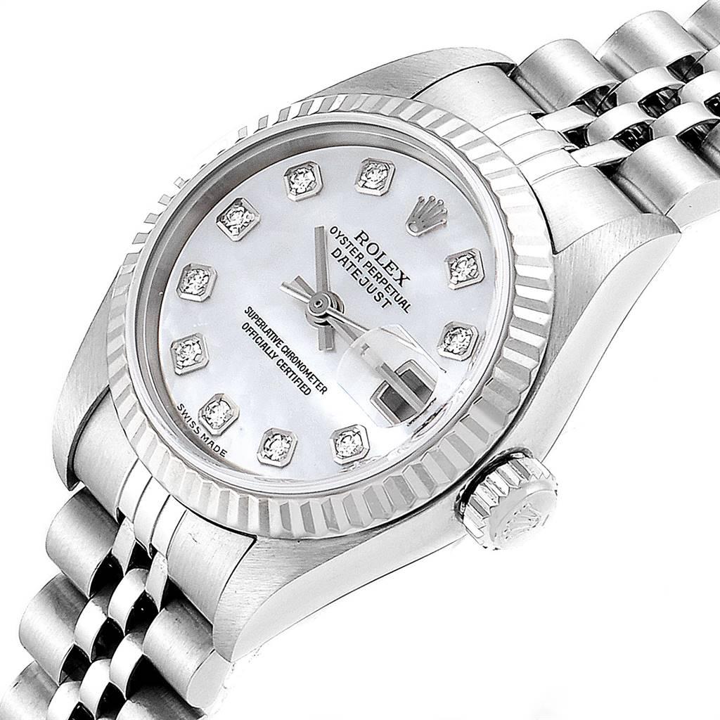 24621 Rolex Datejust Steel White Gold Diamond Ladies Watch 79174 Box Papers SwissWatchExpo