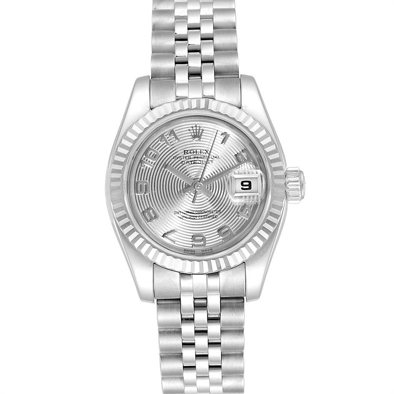 Rolex Datejust Steel White Gold Silver Concentric Dial Ladies Watch 179174 SwissWatchExpo