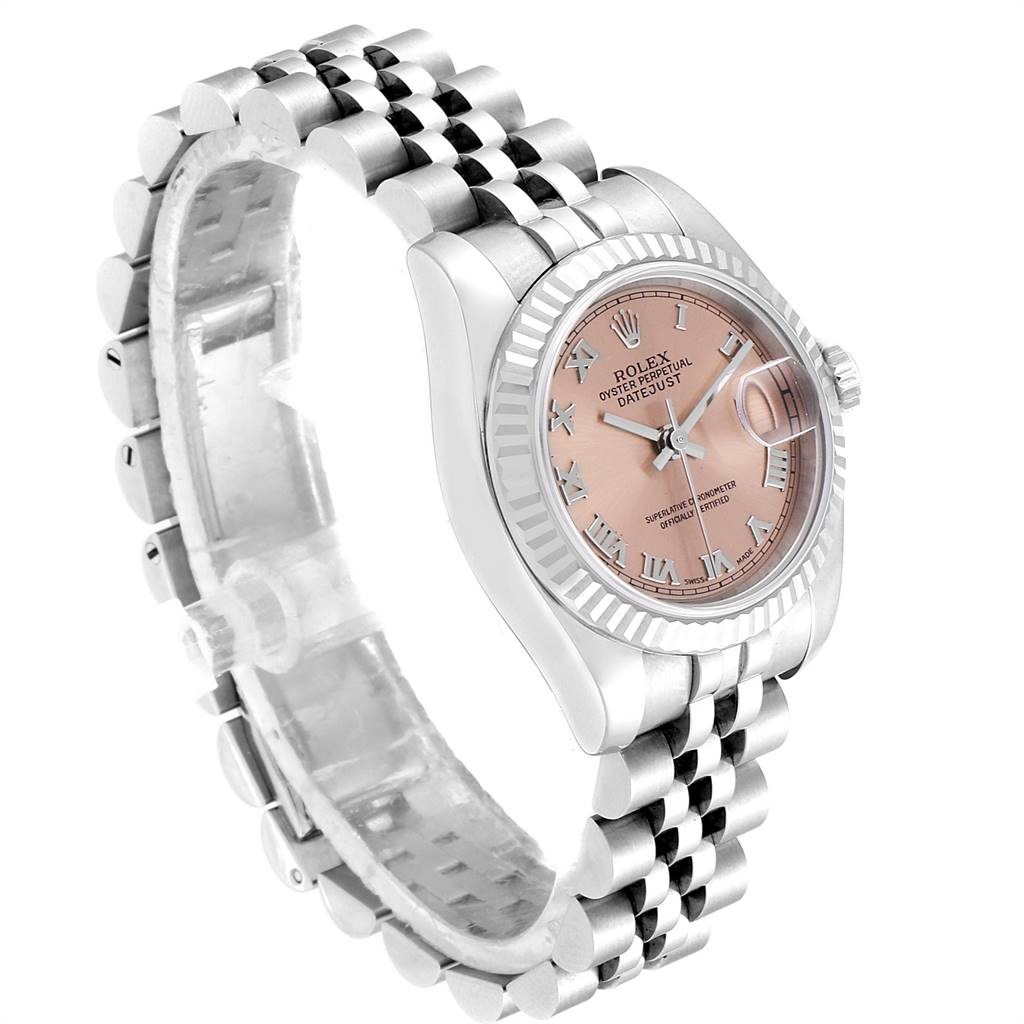 24979 Rolex Datejust 26 Steel White Gold Salmon Dal Ladies Watch 179174 SwissWatchExpo