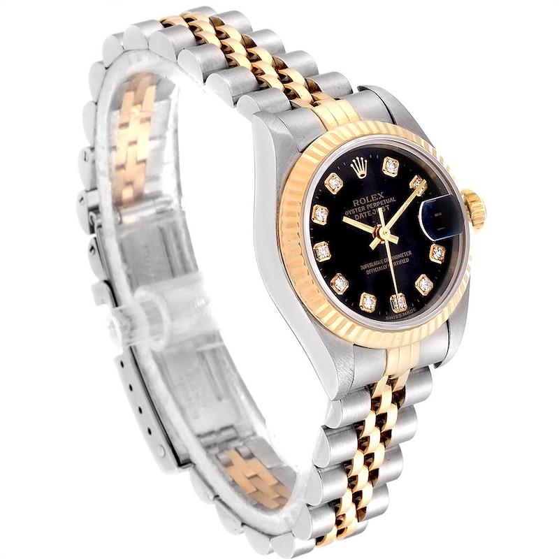 Rolex Datejust Steel Yellow Gold Black Diamond Dial Ladies Watch 69173 SwissWatchExpo