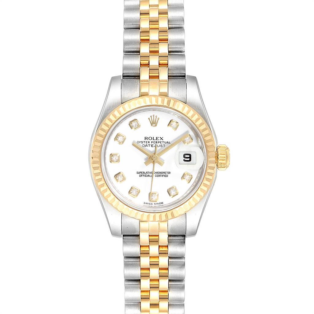 25038 Rolex Datejust Steel Yellow Gold Diamond Ladies Watch 179173 Box Card SwissWatchExpo