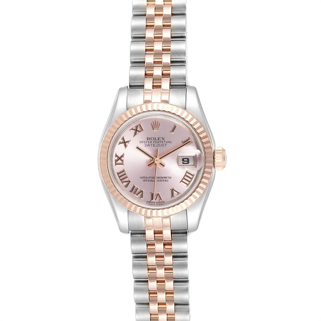 Rolex Datejust Steel Everose Gold Rose Dial Ladies Watch 179171 Box Papers