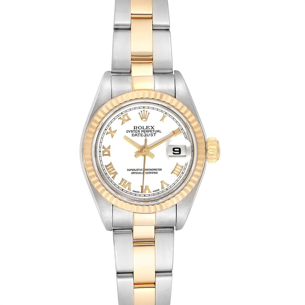 Rolex Datejust Steel Yellow Gold White Dial Ladies Watch 79173 Box Papers SwissWatchExpo