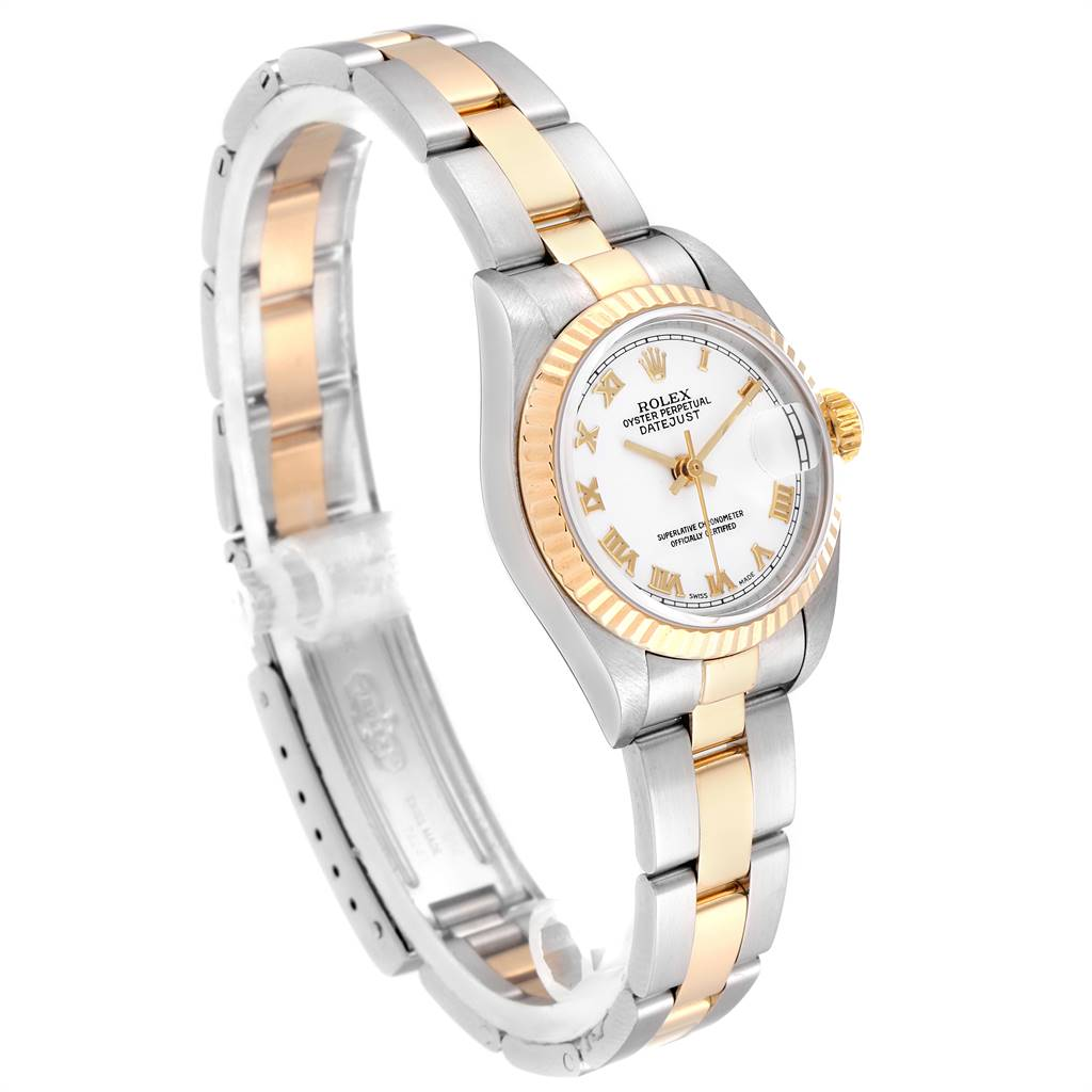 24947 Rolex Datejust Steel Yellow Gold White Dial Ladies Watch 79173 Box Papers SwissWatchExpo