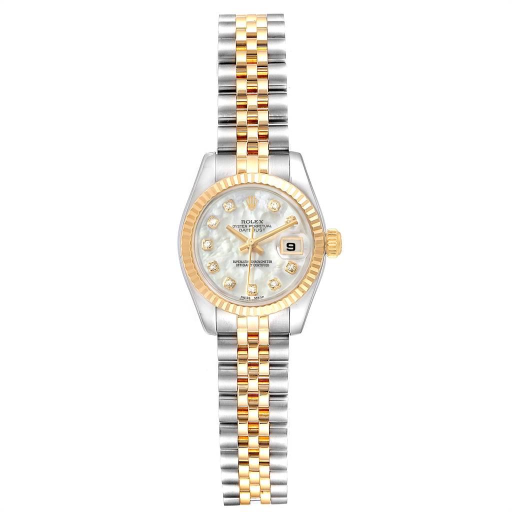 Rolex Datejust Steel Yellow Gold MOP Diamond Ladies Watch 179173 Box Card SwissWatchExpo