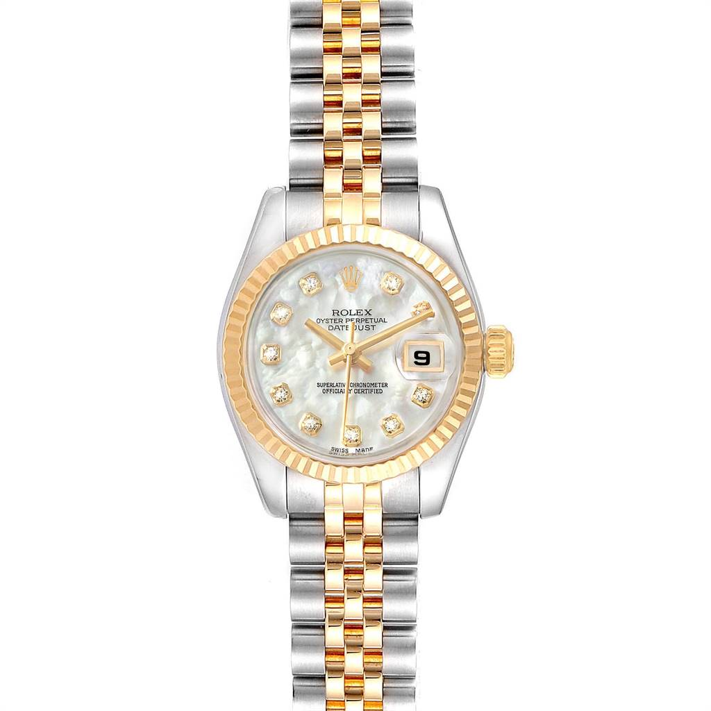 24980 Rolex Datejust Steel Yellow Gold MOP Diamond Ladies Watch 179173 Box Card SwissWatchExpo