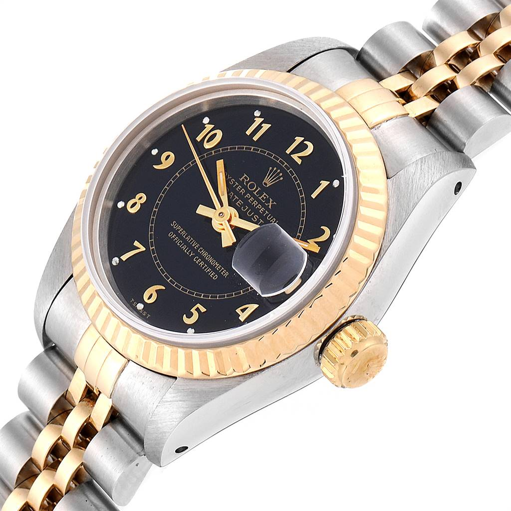 24989 Rolex Datejust 26 Steel Yellow Gold Black Dial Ladies Watch 69173 SwissWatchExpo