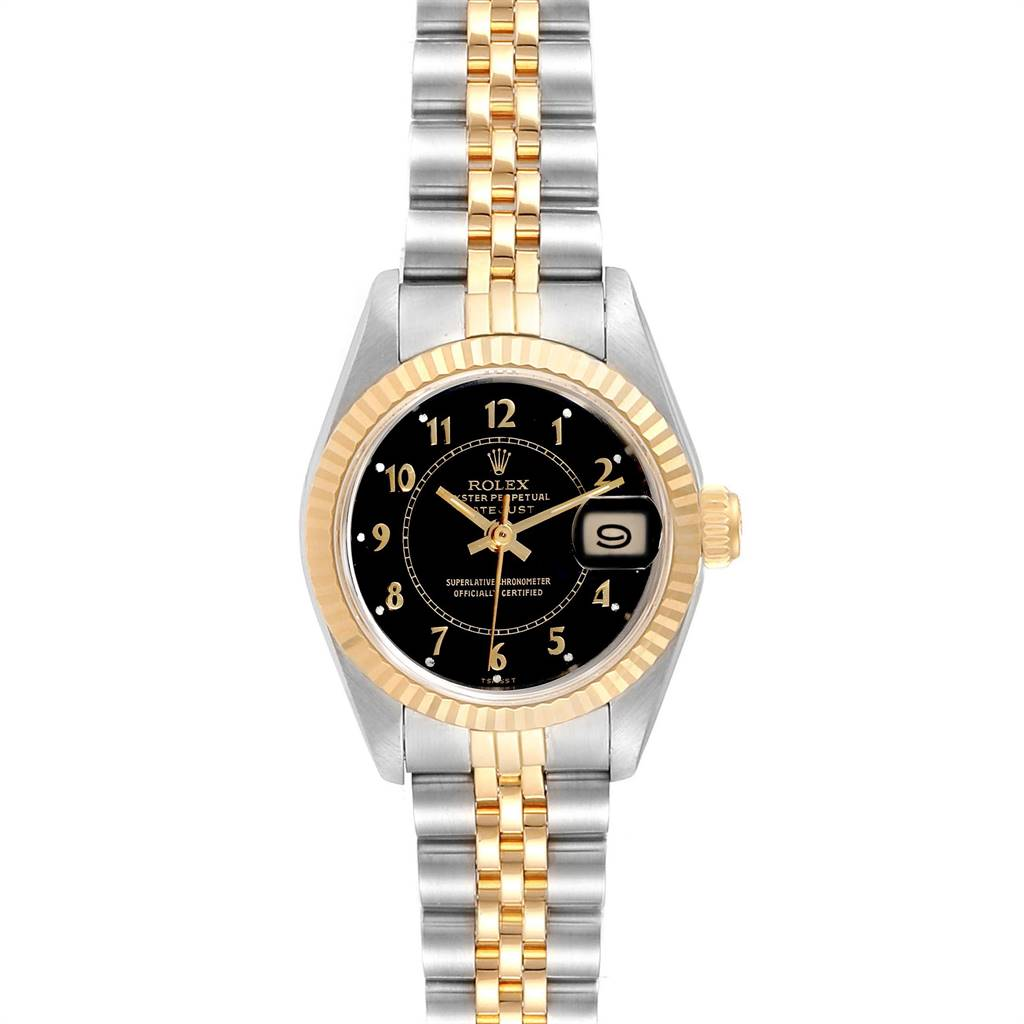 Rolex Datejust 26 Steel Yellow Gold Black Dial Ladies Watch 69173 SwissWatchExpo