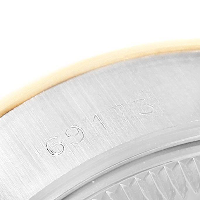 24941 Rolex Datejust Steel Yellow Gold Black Diamond Dial Ladies Watch 69173 SwissWatchExpo