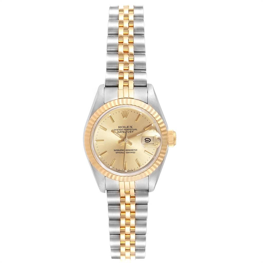 24987 Rolex Datejust Steel Yellow Gold Fluted Bezel Ladies Ladies Watch 69173 SwissWatchExpo