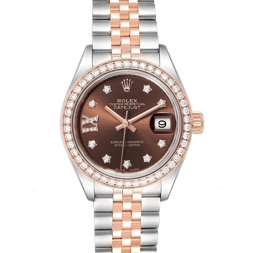 25261 Rolex Datejust Steel Rose Gold Chocolate Dial Diamond Ladies Watch 279171 SwissWatchExpo