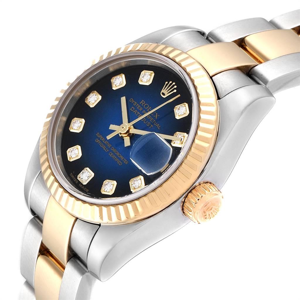 Rolex Datejust Steel Yellow Gold Vignette Diamond Dial Ladies Watch 179173 SwissWatchExpo