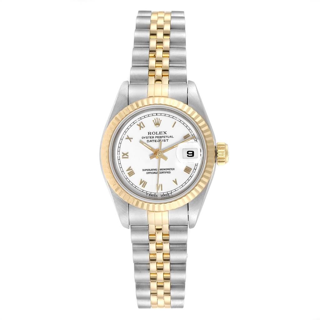 25237 Rolex Datejust Steel Yellow Gold White Dial Ladies Watch 69173 SwissWatchExpo